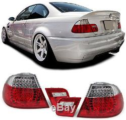 2 FEUX ARRIERE A LED ROUGE BLANC CLEAR BMW SERIE 3 E46 COUPE 323 Ci