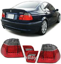 2 FEUX ARRIERE LED ROUGE FUME SMOKE BMW SERIE 3 E46 BERLINE PH2 330 d